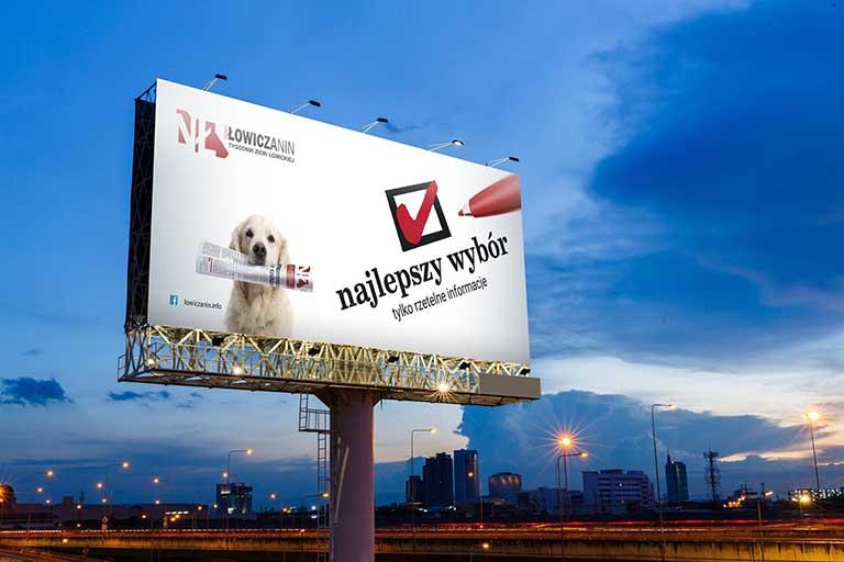 duży podświetlany baner druk kampanii reklamowej nowy łowiczanin