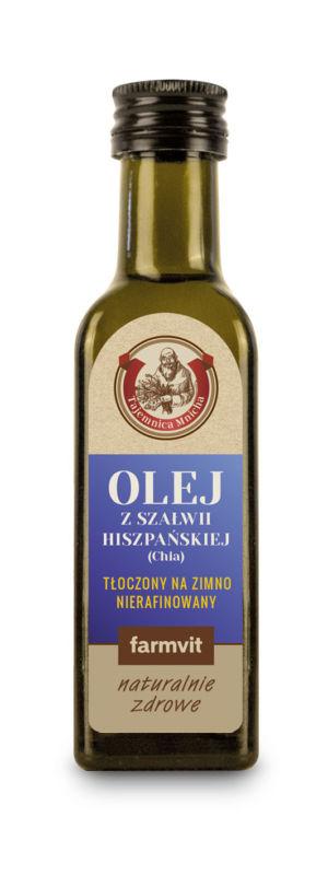 Etykieta z folii samoprzylepnej - Olej z Szałwii Hiszpańskiej (Chia) FARMVIT
