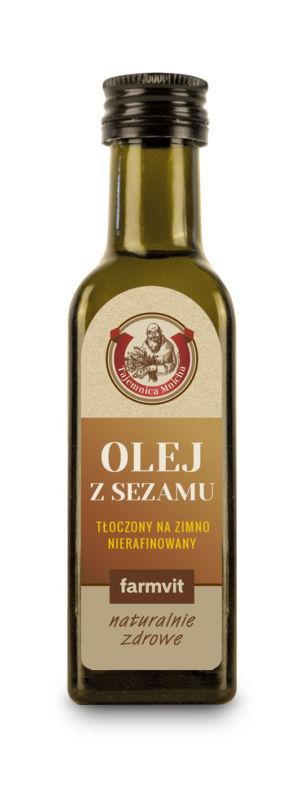 Etykieta z folii samoprzylepnej - Olej z Sezamu FARMVIT