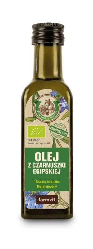 Etykieta z folii samoprzylepnej - Olej z Czarnuszki Egipskiej FARMVIT