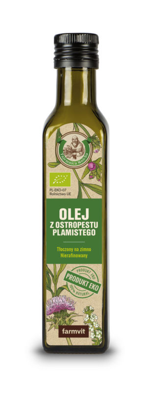 Etykieta z folii samoprzylepnej - Olej z Ostropestu Plamistego FARMVIT