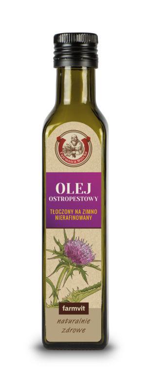 Etykieta z folii samoprzylepnej - Olej Ostropestowy FARMVIT