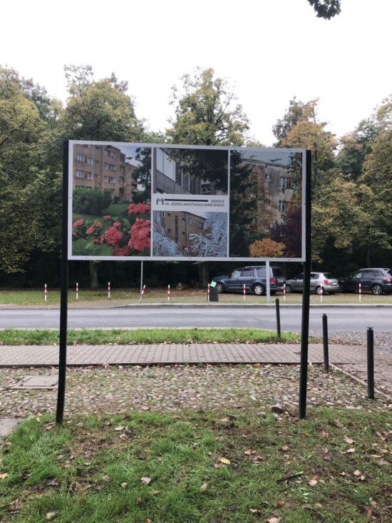 wykonanie i montaż tablicy dla osiedla Montwiłła - Mireckiego
